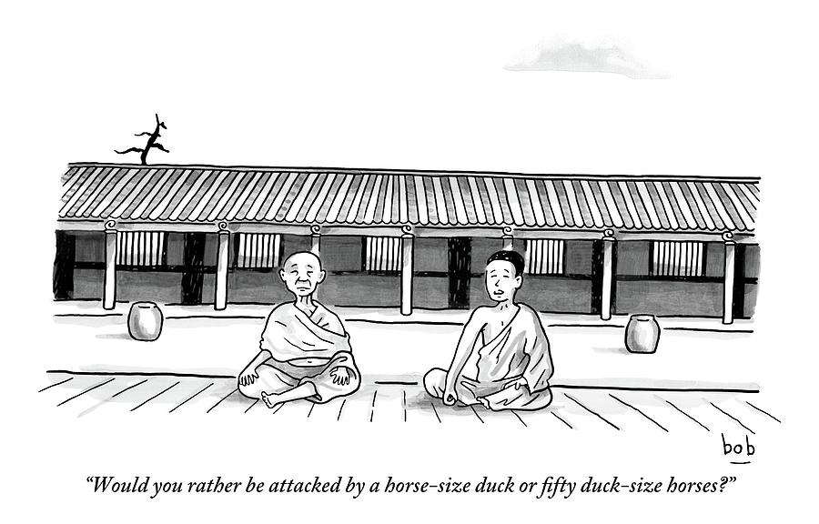 One Buddhist Monk Asks Another While Meditating Drawing by Bob Eckstein