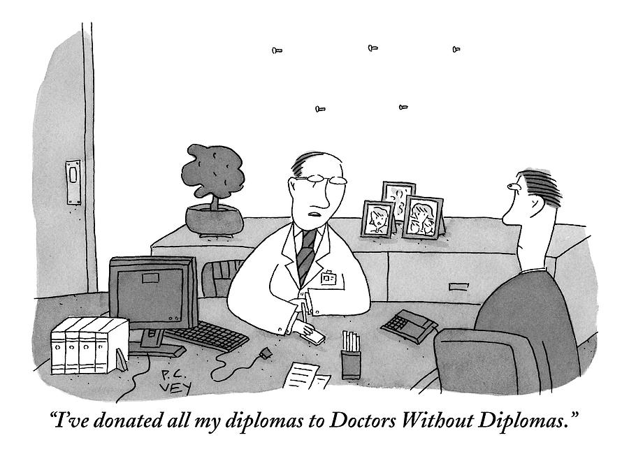 One Doctor At A Desk Speaks To A Colleague Drawing by Peter C. Vey