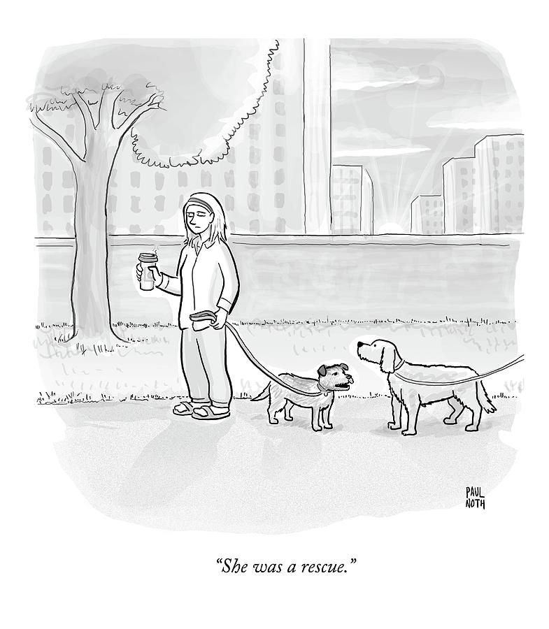 One Dog Talks To Another Drawing by Paul Noth
