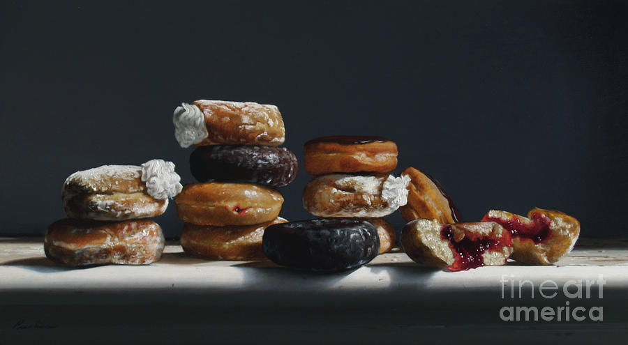 Donuts Painting - One Dozen Donuts by Larry Preston