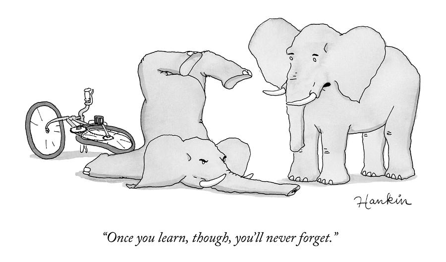 One Elephant Says To Another Elephant Who Drawing by Charlie Hankin