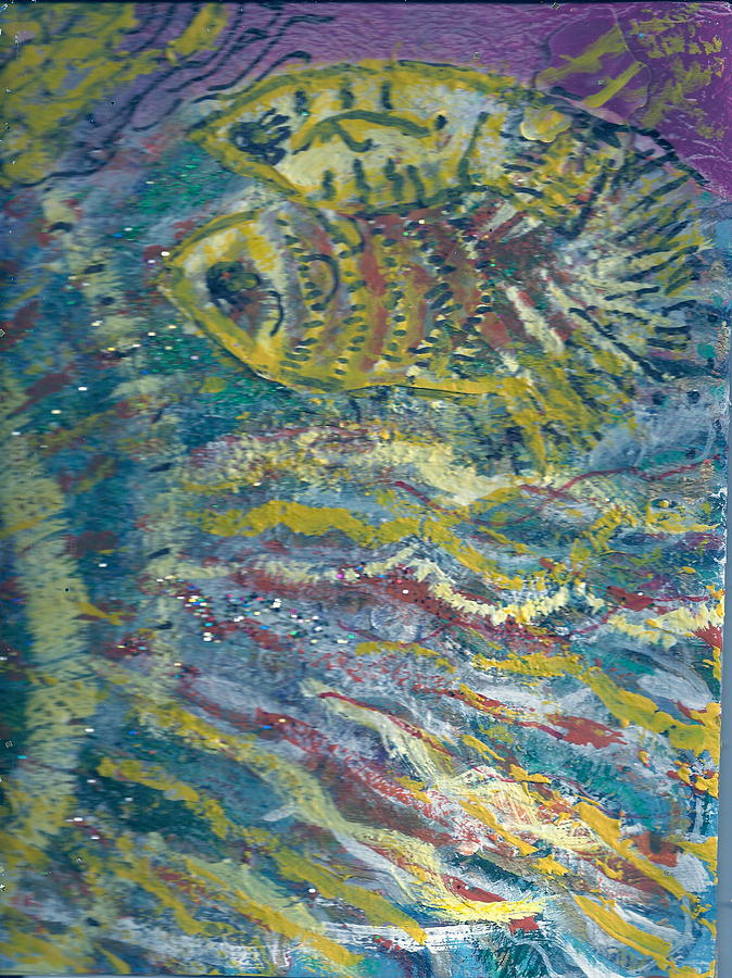 Fish Painting - One Fish Two Fish In The Wake Of The Big Fish by Anne-Elizabeth Whiteway