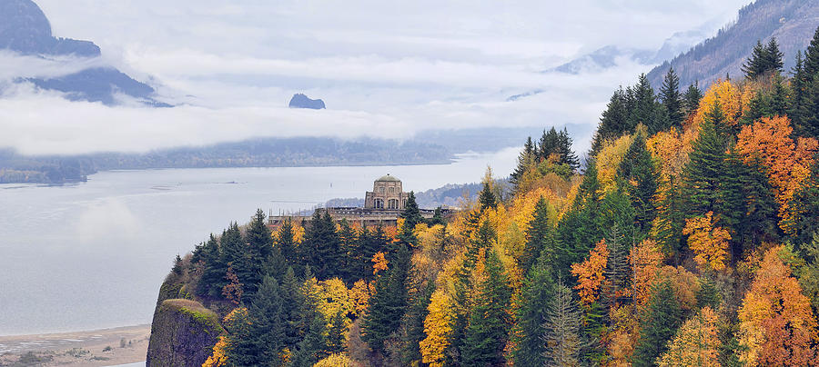 Vista House Photograph - One Foggy Fall Day At Crown Point by David Gn