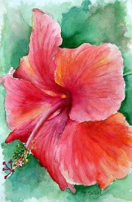 Floral Painting - One Hibiscus by Barbara Seibel