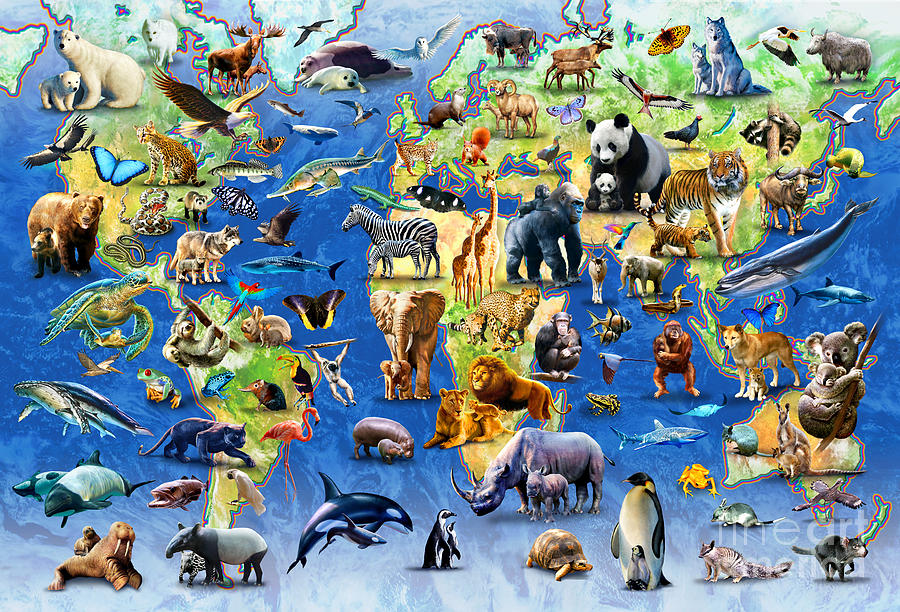 Adrian Chesterman Digital Art - One Hundred Endangered Species by MGL Meiklejohn Graphics Licensing