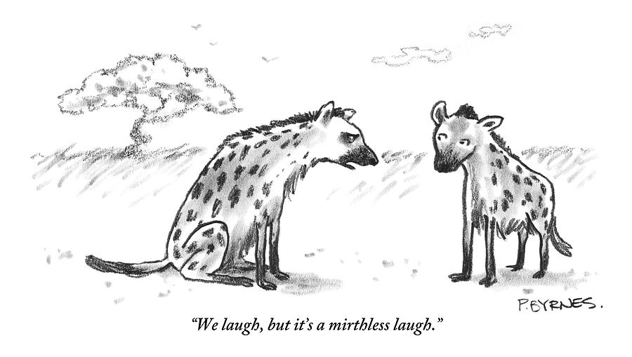 One Hyena Explains To Another Drawing by Pat Byrnes