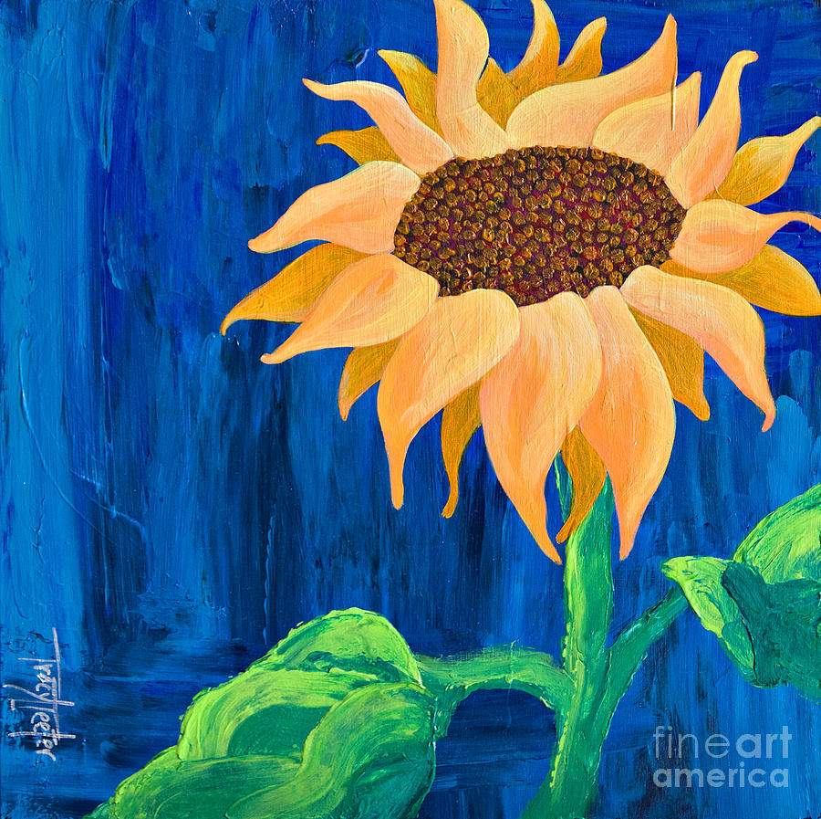 Sunflower Painting - One in the Sun by Tracy L Teeter