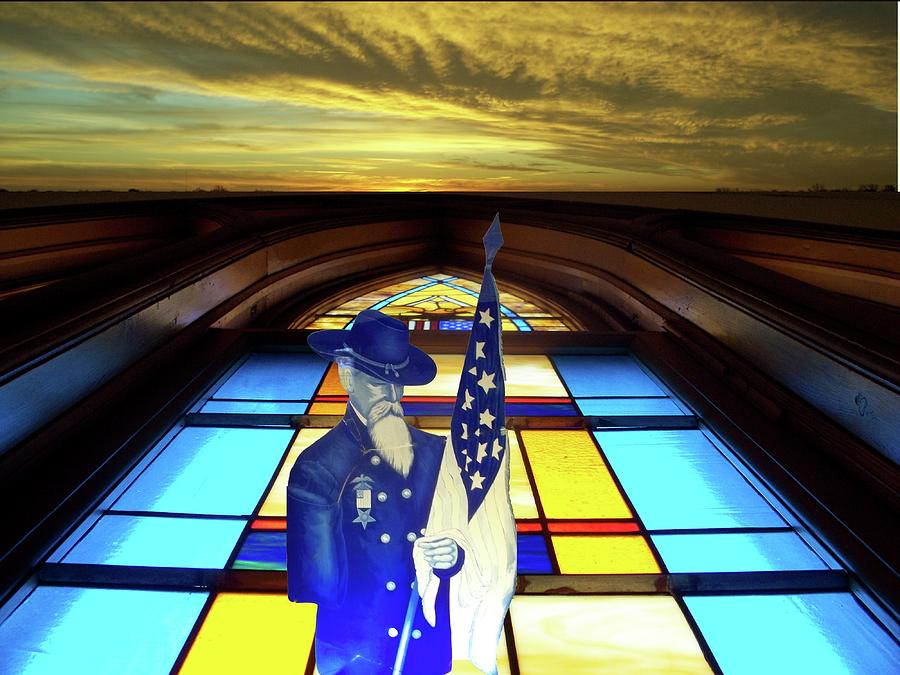 Glass Art Photograph - One Last Battle Union Soldier Stained Glass Window Digital Art by Thomas Woolworth