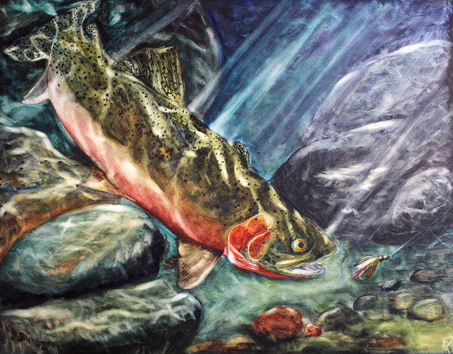 Cutthroat Trout Painting - One Last Cast by Mary C Farrenkopf