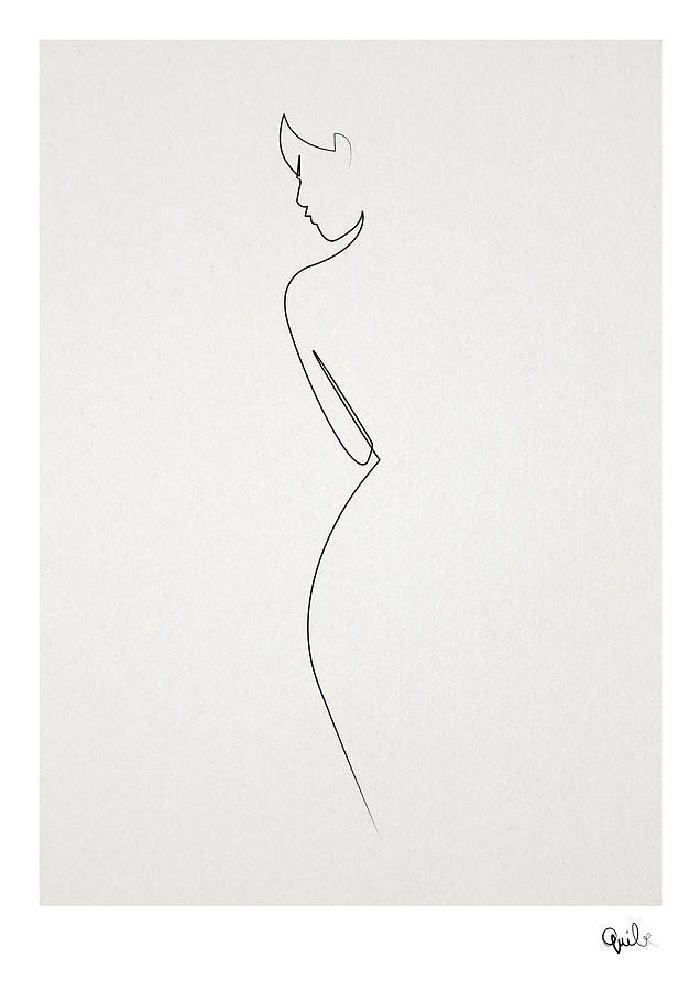 Oneline Digital Art - One Line Nude by Quibe Sarl