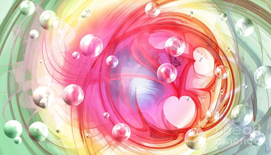 Fractal Digital Art - One Love... One Heart... One Life by Peggy Hughes
