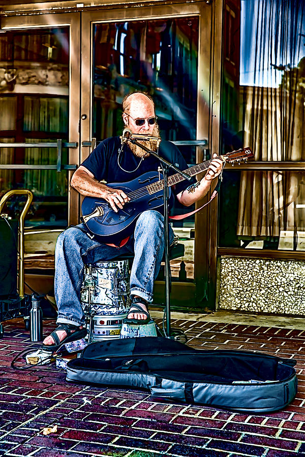 Buskers Digital Art - One Man Show by John Haldane