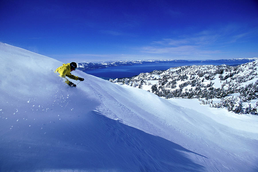 Action Photograph - One Man Skiing In Powder High by Corey Rich