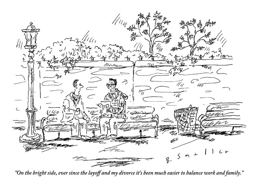 One Man To Another On A Park Bench Drawing By Barbara Smaller