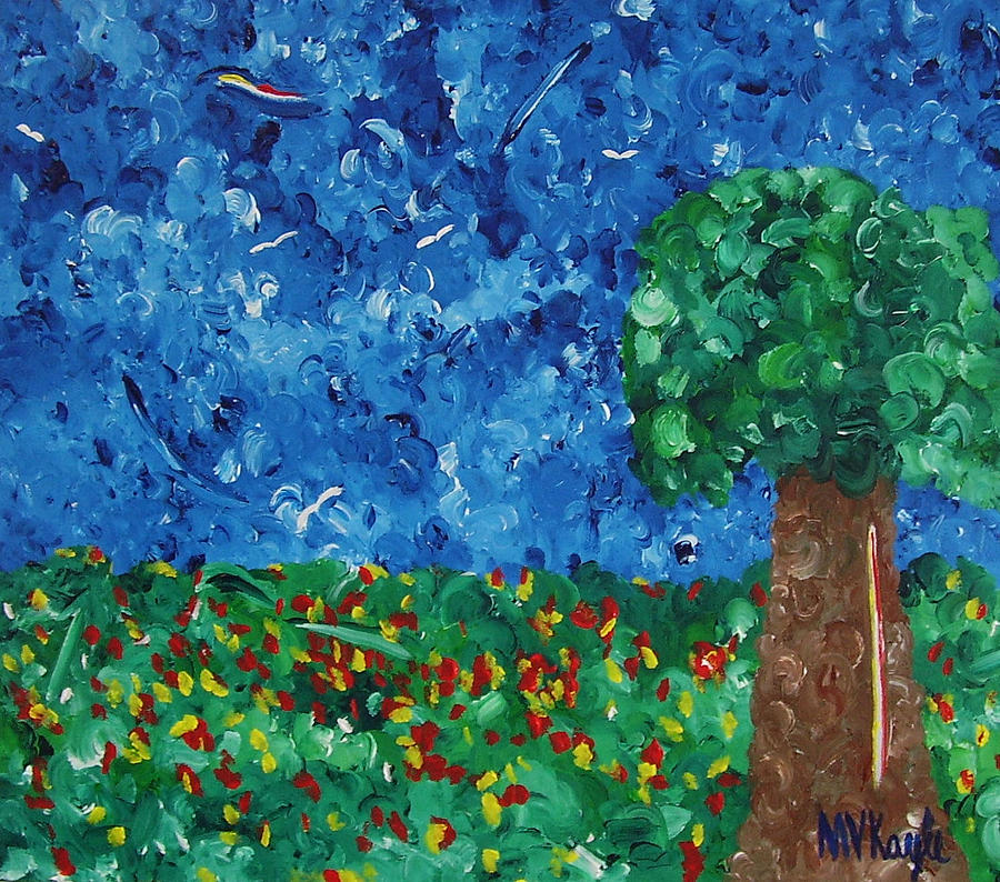 Marten Kayle Painting - Blue Sky One Tree by Marten Kayle