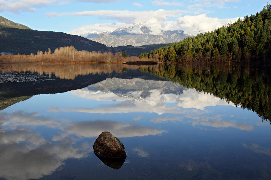 Landscape Photograph - One Mile Lake One Rock Reflection Pemberton B.c Canada by Pierre Leclerc Photography