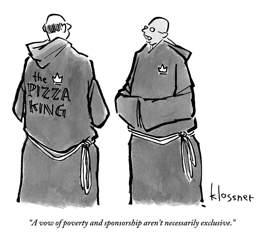 One Monk Speaks To Another. One Of The Monks Drawing by John  Klossner