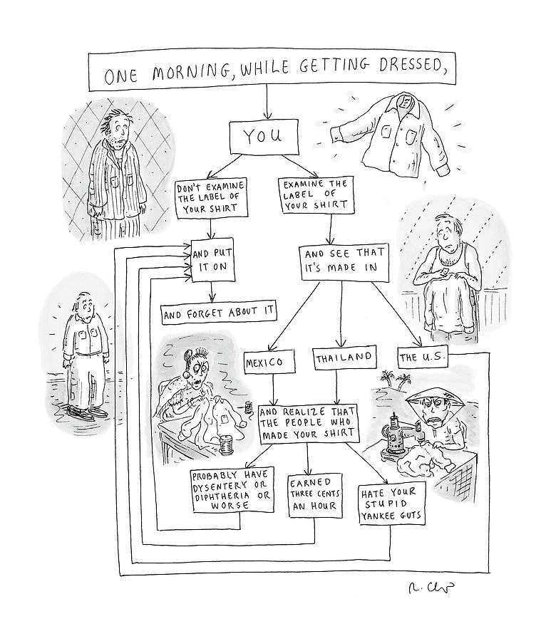 Politics Drawing - One Morning While Getting Dressed by Roz Chast