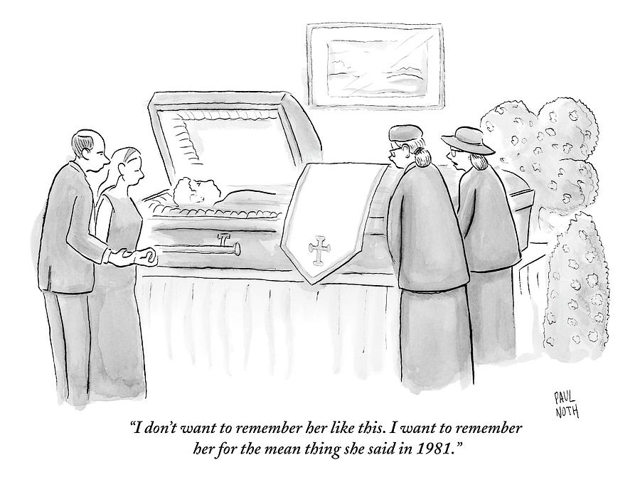 One Mourning Woman At A Funeral Comments Drawing by Paul Noth