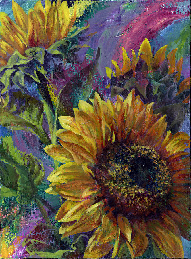 Sunflowers Painting - One of a Kind by Don Michael Jr