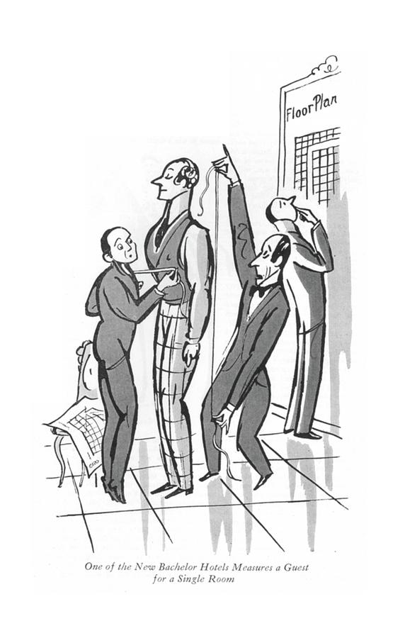 The New Bachelor Hotels  Drawing by Peter Arno