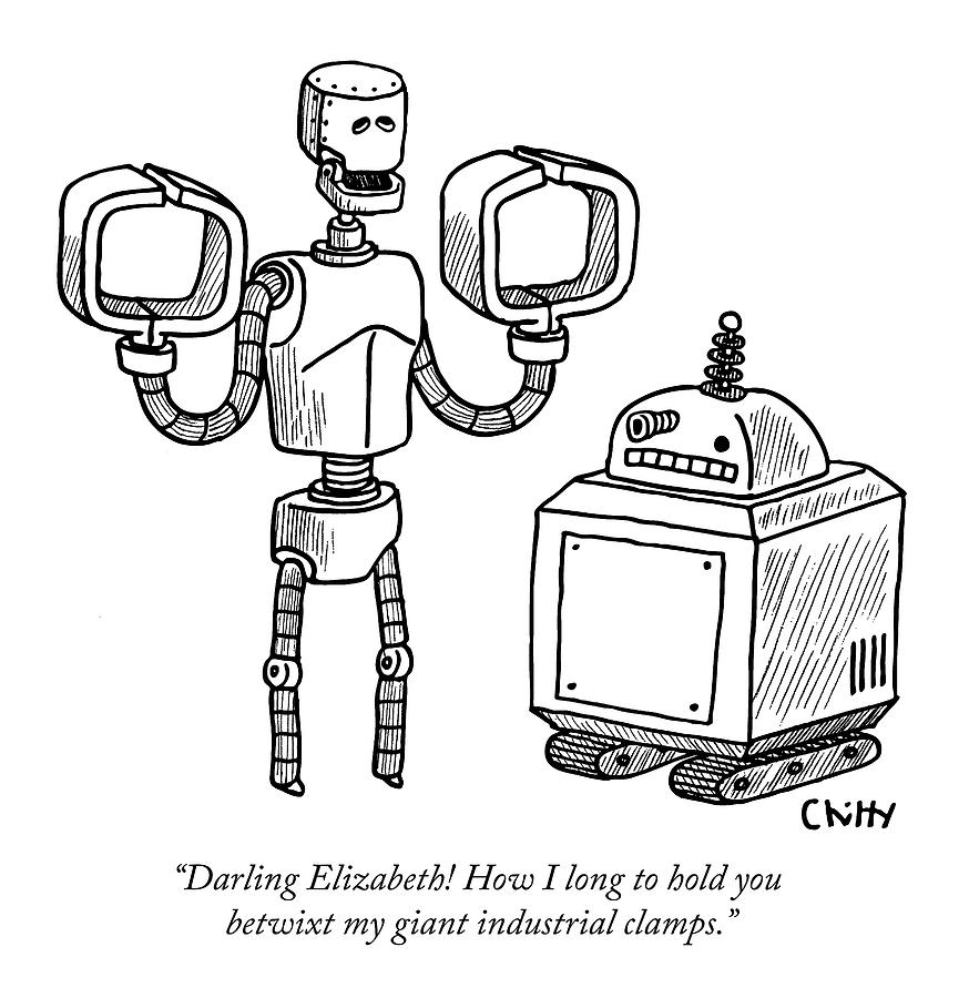 One Robot Speaks To Another Drawing by Tom Chitty