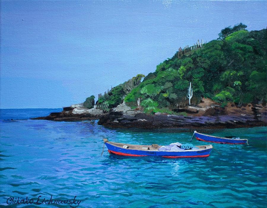Boat Painting - One Scenery Of Praia De Joao Fernandinho by Chikako Hashimoto Lichnowsky