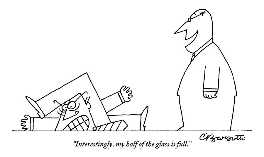 One Smiling Executive Speaks To Another Who Drawing by Charles Barsotti