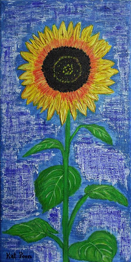 Sunflower Painting - One Sunny Stalk by Kat Poon