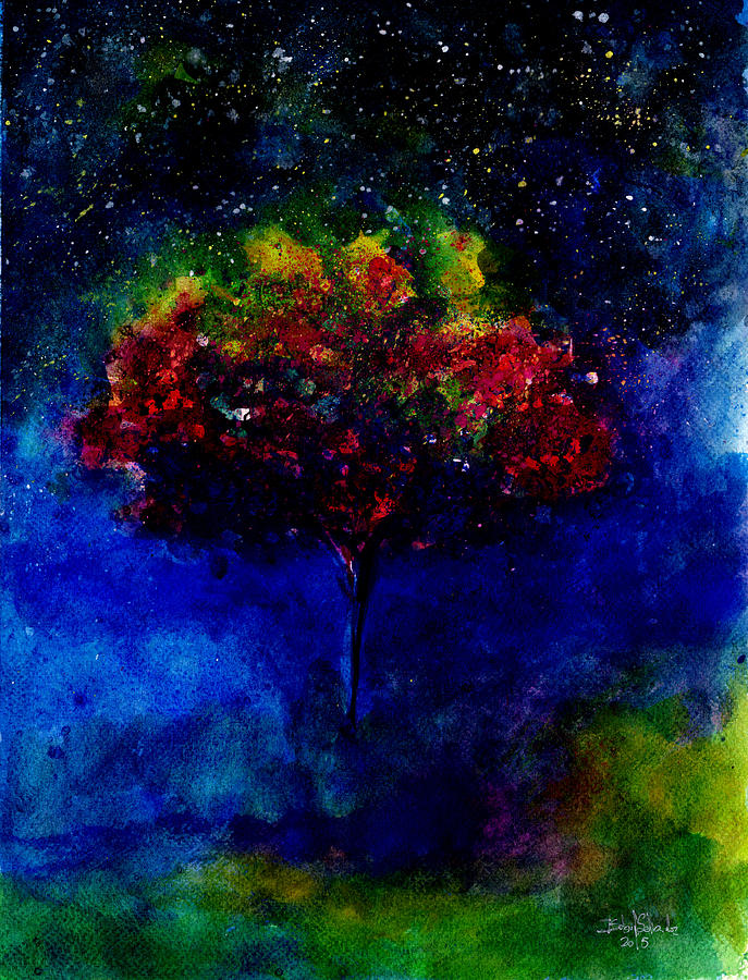 Galaxy Painting - One Tree In The Universe by Isabel Salvador