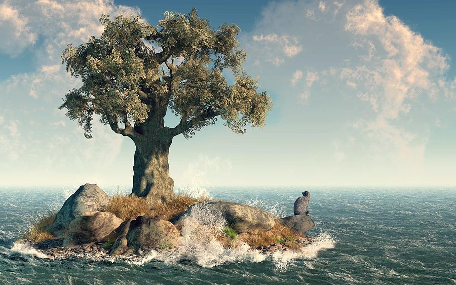Island Digital Art - One Tree Island by Daniel Eskridge