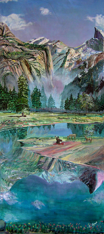 Yosemite Half Dome Painting - One With Nature by Sarabjit Singh