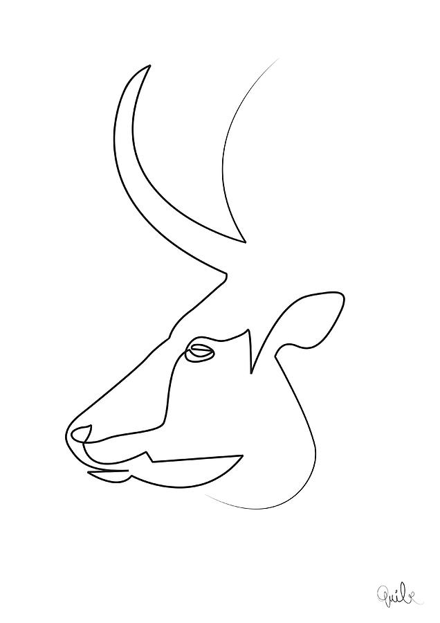 Continuous Line Drawing Quibe : Oneline bull digital art by quibe