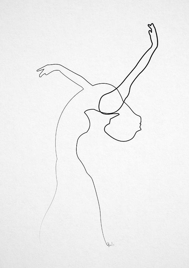 Single Line Unicode Art : Oneline dancer digital art by quibe