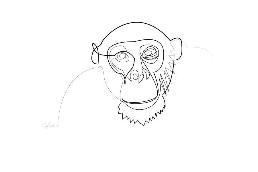 High Quality Minimal Digital Art   Oneline Monkey By Quibe Sarl