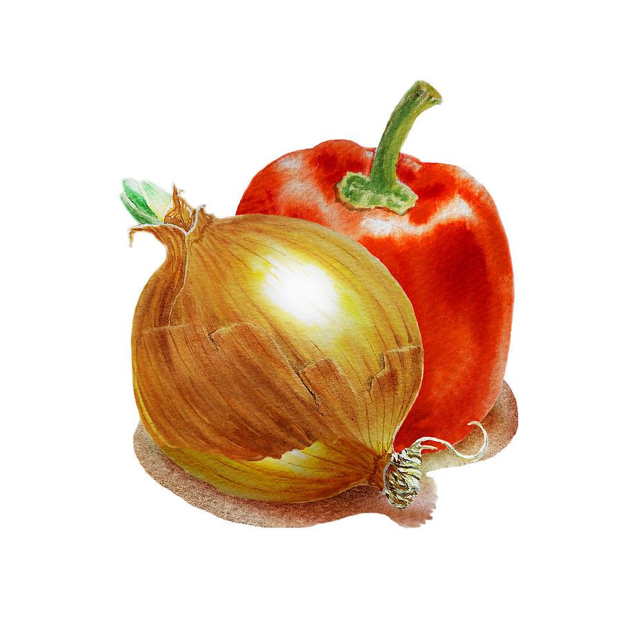 Onion Painting - Onion And Red Pepper by Irina Sztukowski