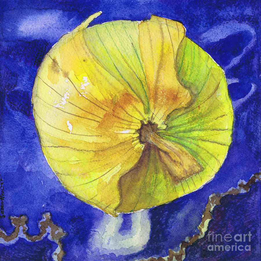 Onion Painting - Onion On Blue Tile by Susan Herbst