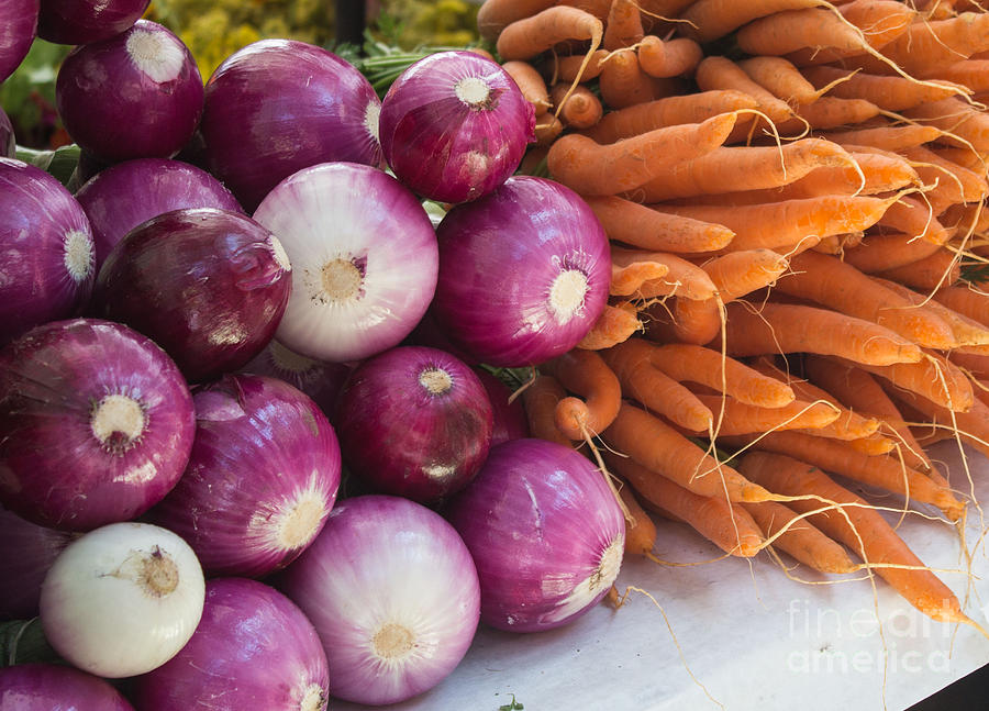 Food Photograph - Onions And Carrots by Arlene Carmel