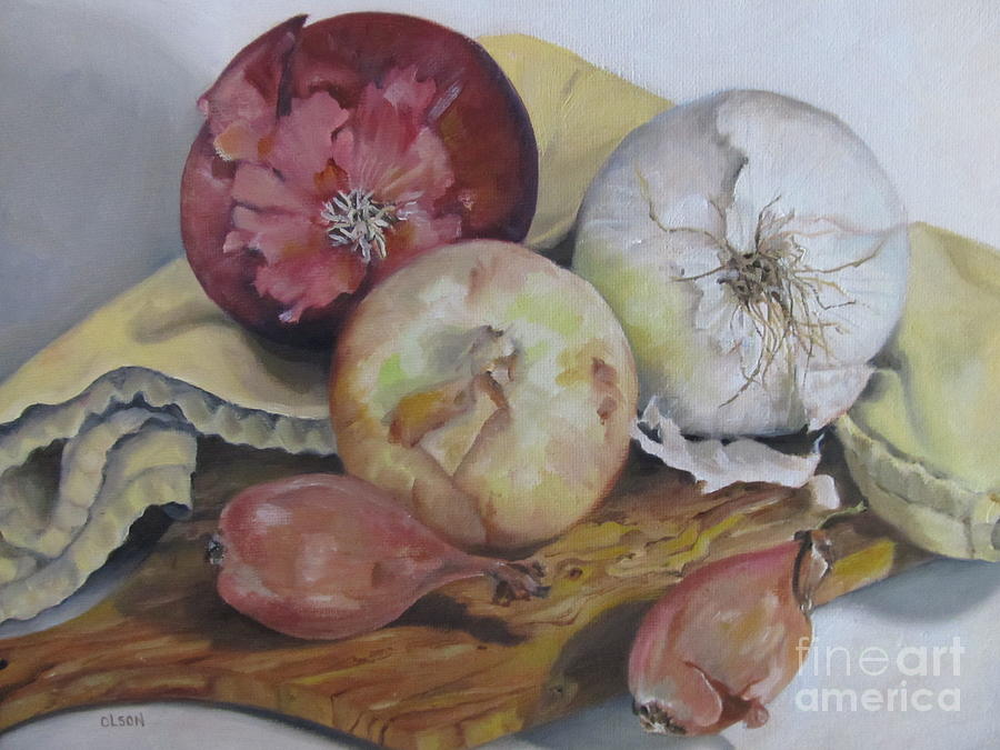 Still Life Painting - Onions by Karen Olson