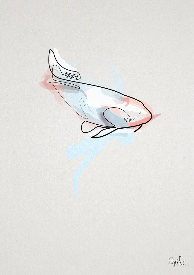 oneline Fish Koi Digital Art by Quibe Sarl