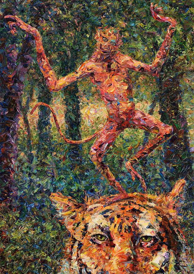 Monkey Painting - Only A Crazy Monkey Dances On A Tigers Head by James W Johnson