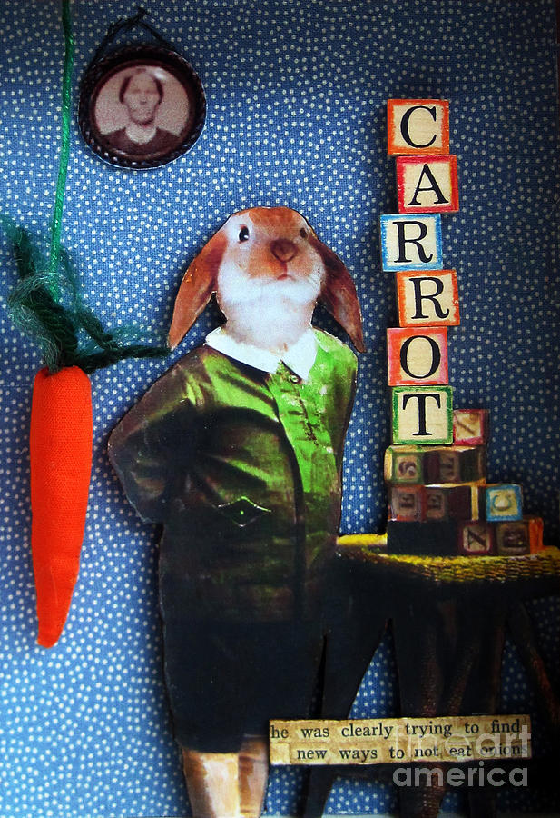 Rabbit Mixed Media - Only Carrots   by Linda Apple