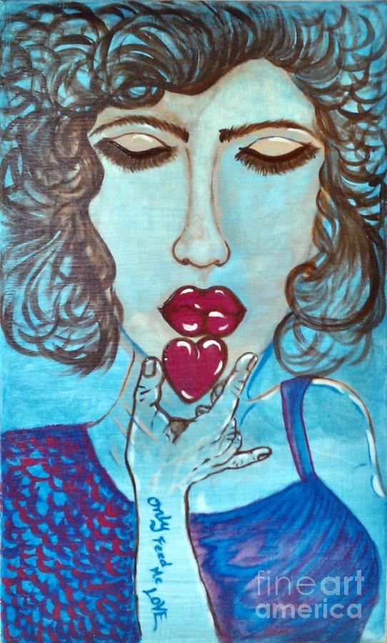 Figurative Painting - Only Feed Me Love by Adriana Garces