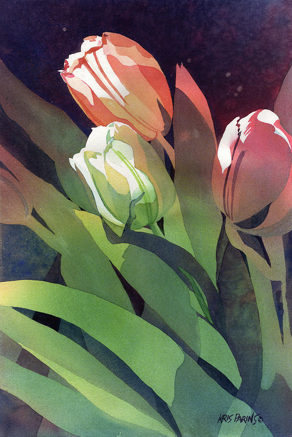 Wisconsin Artist Painting - Only Three Tulips by Kris Parins
