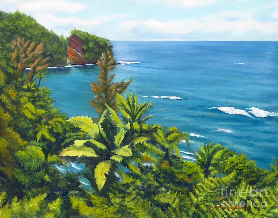 Onomea Bay Painting - Onomea Bay Hilo Hawaii by Rosemarie Morelli
