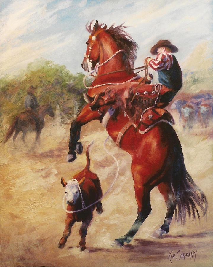 Cowboy Painting - Oops          Buckaroo Western Oil Painting by Kim Corpany