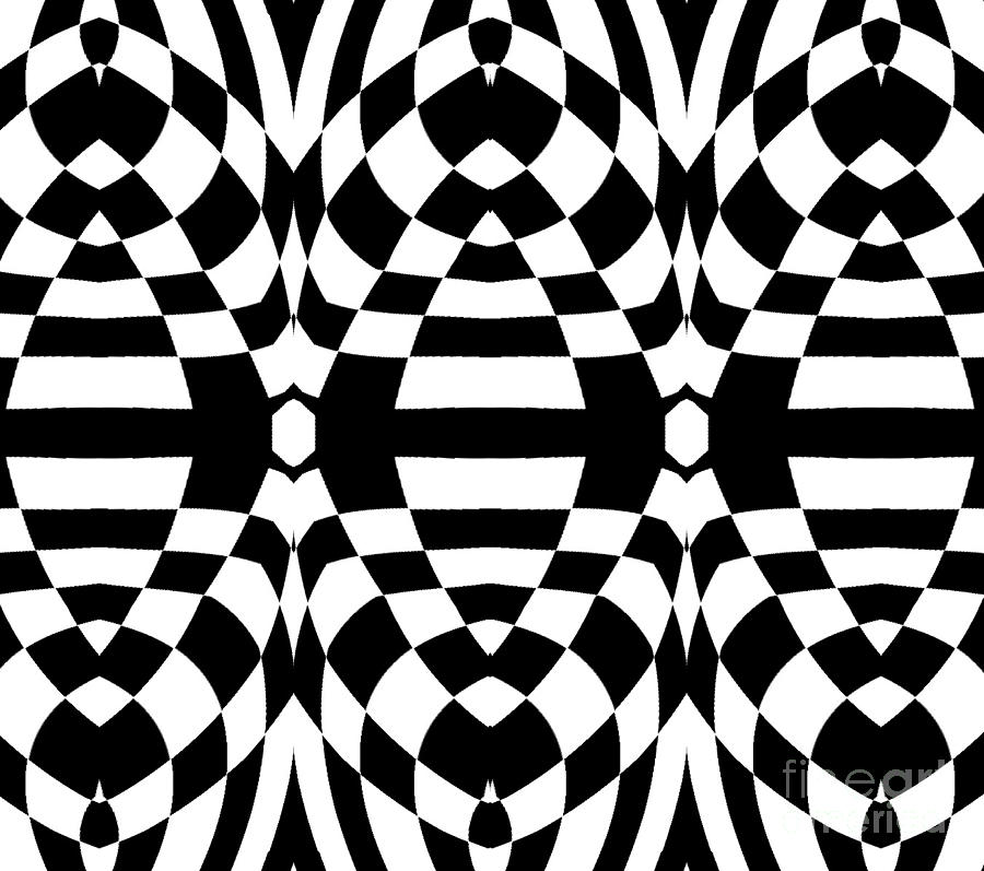 Black and white digital art op art black white geometric abstract print no 262