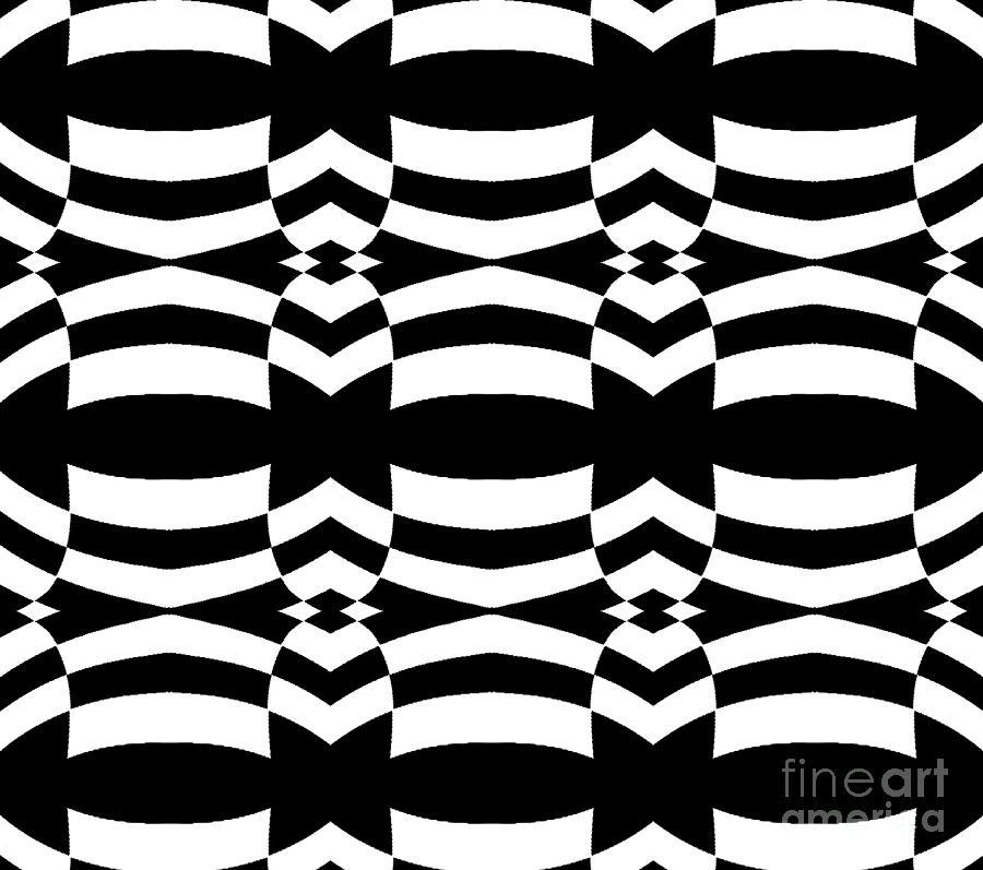 Black And White Digital Art Digital Art - Op Art Black White Pattern No.139  by Drinka Mercep