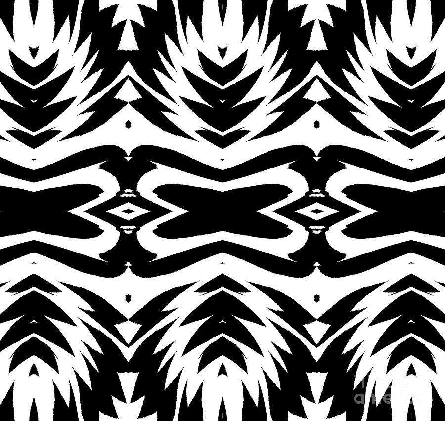 Pattern Digital Art - Pattern Black White No.232. by Drinka Mercep