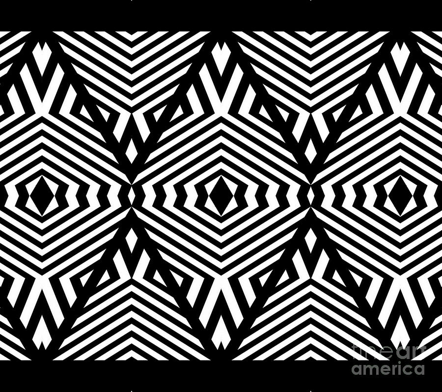 Pattern digital art op art black white pattern print no 336 by drinka